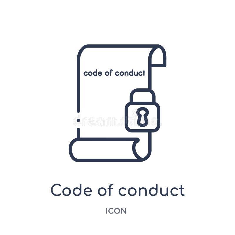 Linjär uppförandekodsymbol från Gdpr översiktssamling Tunn linje uppförandekodsymbol som isoleras på vit bakgrund kod av vektor illustrationer