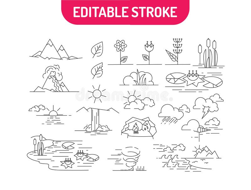 Linjär uppsättning av natursymboler Landskap med berg, blommor, floden, havet, moln och soluppgång också vektor för coreldrawillu stock illustrationer