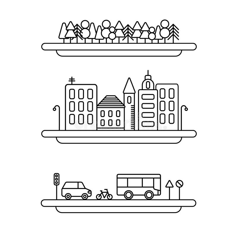 Linjär uppsättning för symboler för landskapbeståndsdelvektor Fodra träd, vektorcityscapesamlingen, väguppsättning vektor illustrationer
