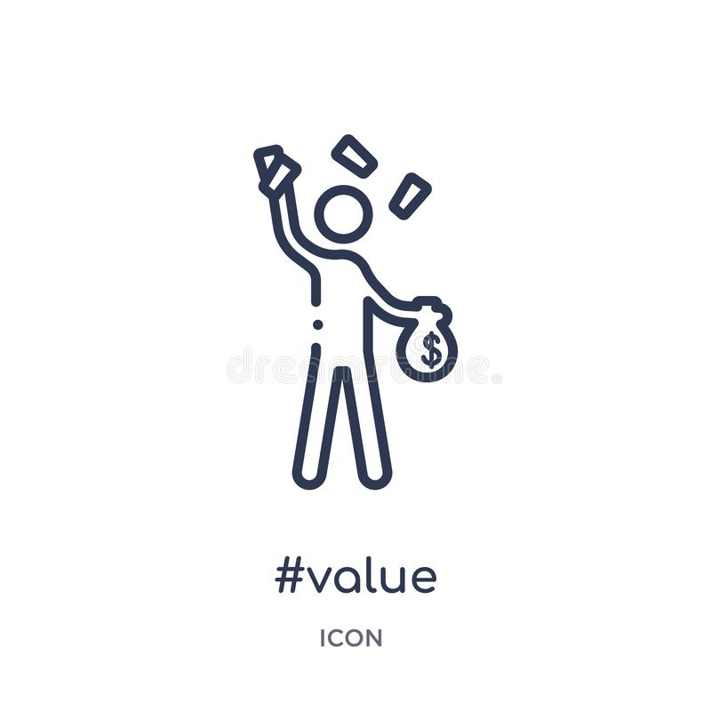 Linjär #valuesymbol från uppförandeöversiktssamling Tunn linje #valuevektor som isoleras på vit bakgrund moderiktig #value royaltyfri illustrationer