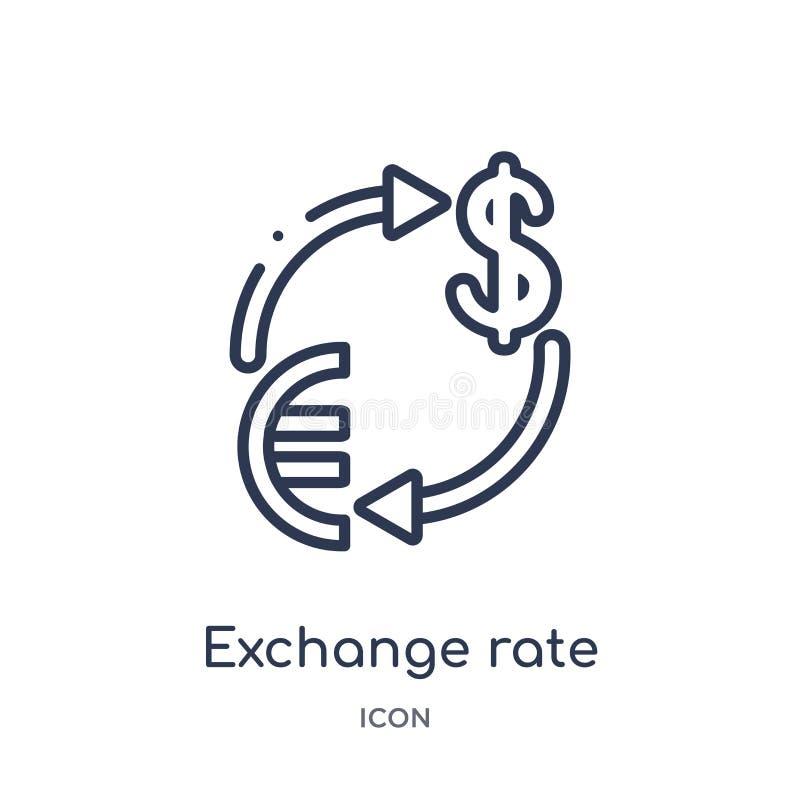 Linjär valutakurssymbol från ecommerce- och betalningöversiktssamling Tunn linje valutakursvektor som isoleras på vit royaltyfri illustrationer
