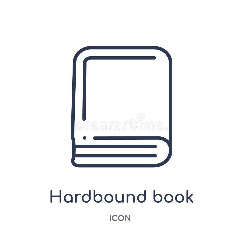Linjär variant- symbol för inbunden bok från utbildningsöversiktssamling Tunn linje variant- symbol för inbunden bok som isoleras royaltyfri illustrationer