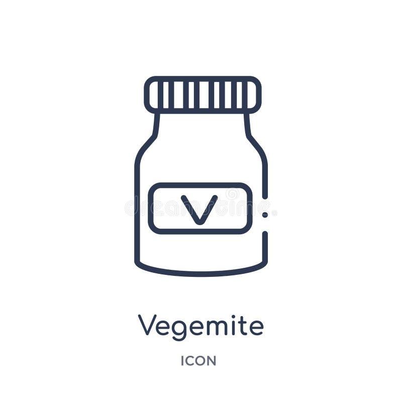 Linjär vegemitesymbol från kulturöversiktssamling Tunn linje vegemitevektor som isoleras på vit bakgrund moderiktig vegemite royaltyfri illustrationer