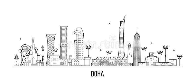 Linjär vektor för byggnader för Doha horisontQatar stad vektor illustrationer