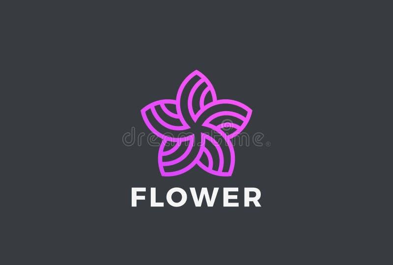 Linjär vektor för logo för blommastjärnaabstrakt begrepp Trädgårds- fa royaltyfri illustrationer
