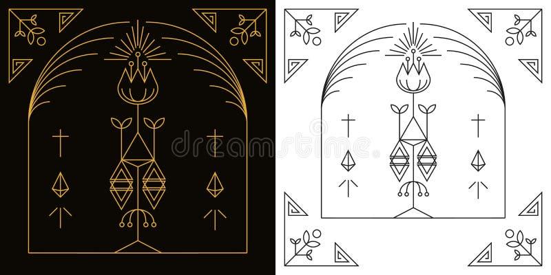 Linjär vektor för stilkonstram stock illustrationer