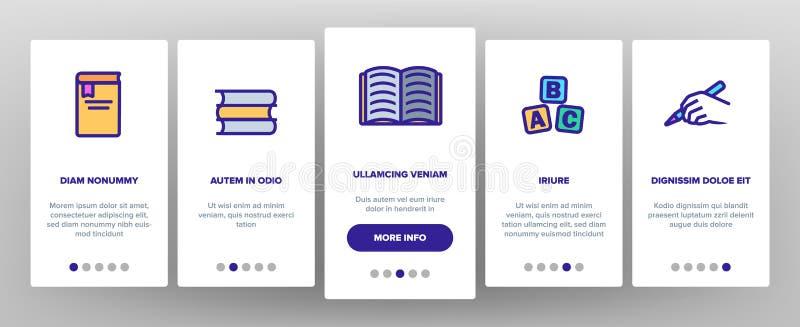 Linjär vektor Onboarding för läs-och skrivkunnighet stock illustrationer