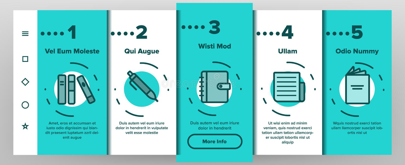 Linjär vektor Onboarding för läs-och skrivkunnighet royaltyfri illustrationer