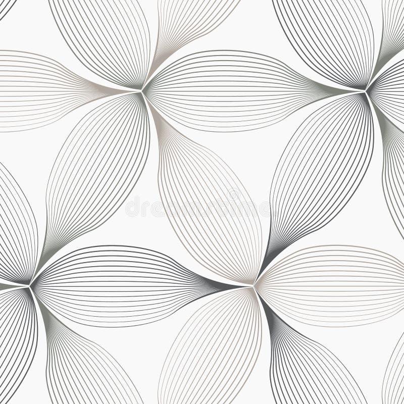 Linjär vektormodell som upprepar abstrakt begrepp ett linjärt blad varje som cirklar på sexhörningsform stock illustrationer