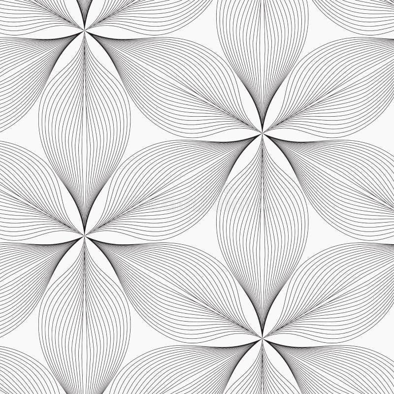 Linjär vektormodell som upprepar abstrakta sidor, grå färglinjen av bladet eller blomman som är blom- grafisk ren design för tyg, royaltyfri illustrationer