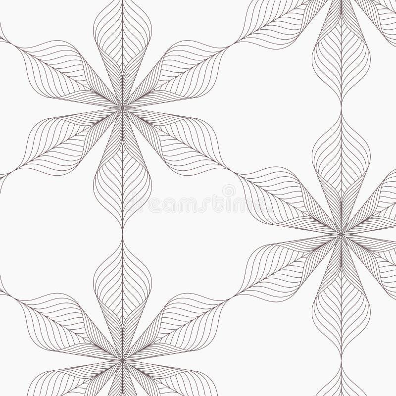 Linjär vektormodell som upprepar abstrakta sidor, grå färglinjen av bladet eller blomman som är blom- grafisk ren design för tyg vektor illustrationer