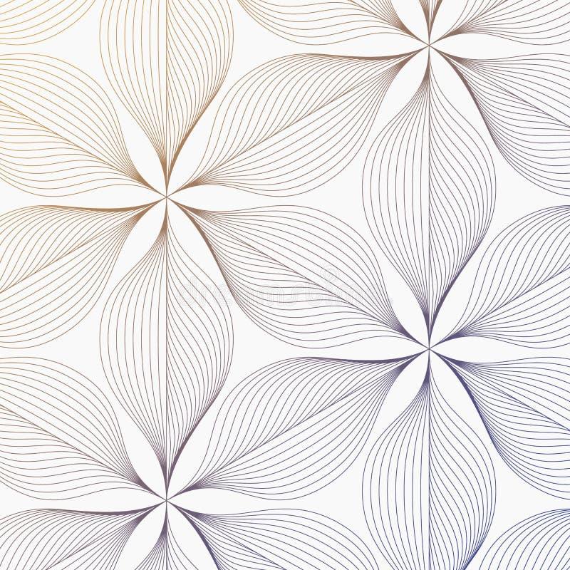 Linjär vektormodell som upprepar abstrakta sidor, grå färglinjen av bladet eller blomman som är blom- grafisk ren design för tyg, vektor illustrationer