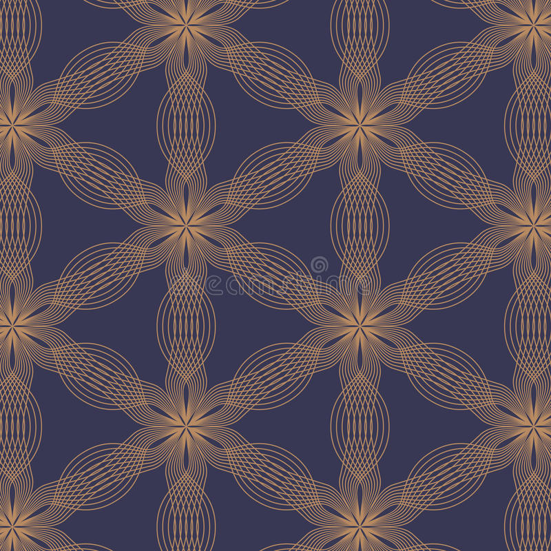 Linjär vektormodell som upprepar abstrakta sidor, guld- linje av blomman som är blom- vektor illustrationer