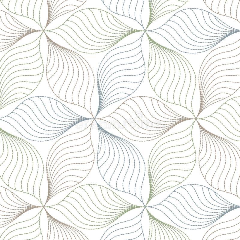 Linjär vektormodell som upprepar abstrakta sidor, linje av bladet eller blomma som är blom- grafisk ren design för tyg, händelse stock illustrationer
