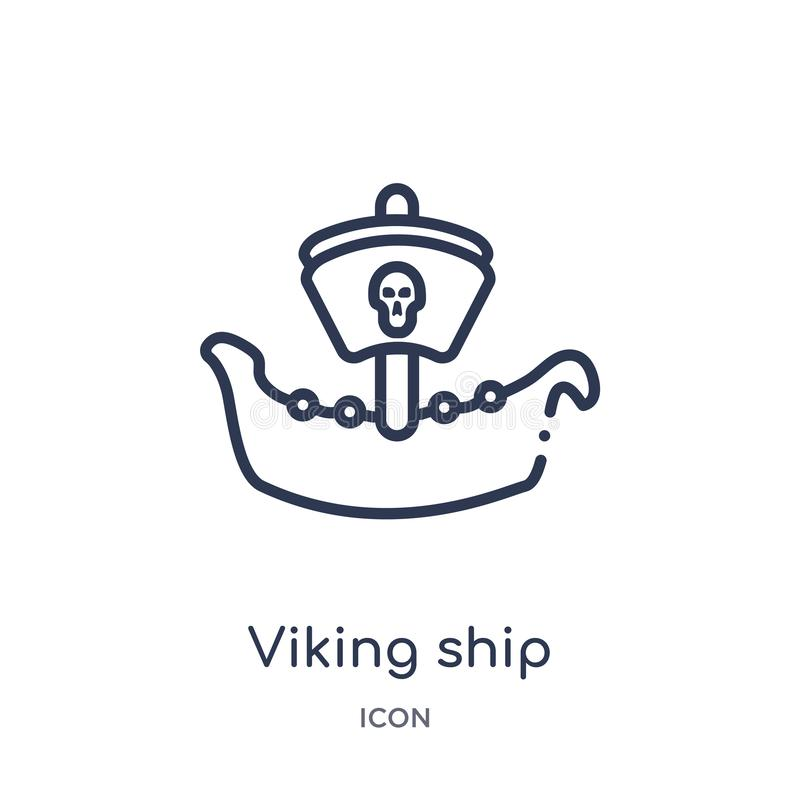 Linjär viking skeppsymbol från historieöversiktssamling Tunn linje viking skeppsymbol som isoleras på vit bakgrund Viking Ship stock illustrationer