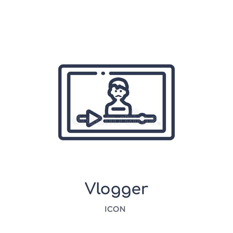 Linjär vloggersymbol från blogger- och influenceröversiktssamling Tunn linje vloggervektor som isoleras på vit bakgrund Vlogger vektor illustrationer