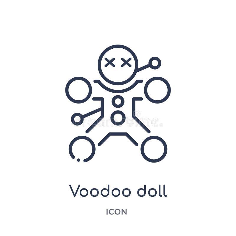 Linjär voodoodockasymbol från magisk översiktssamling Tunn linje voodoodockasymbol som isoleras på vit bakgrund moderiktig voodoo stock illustrationer
