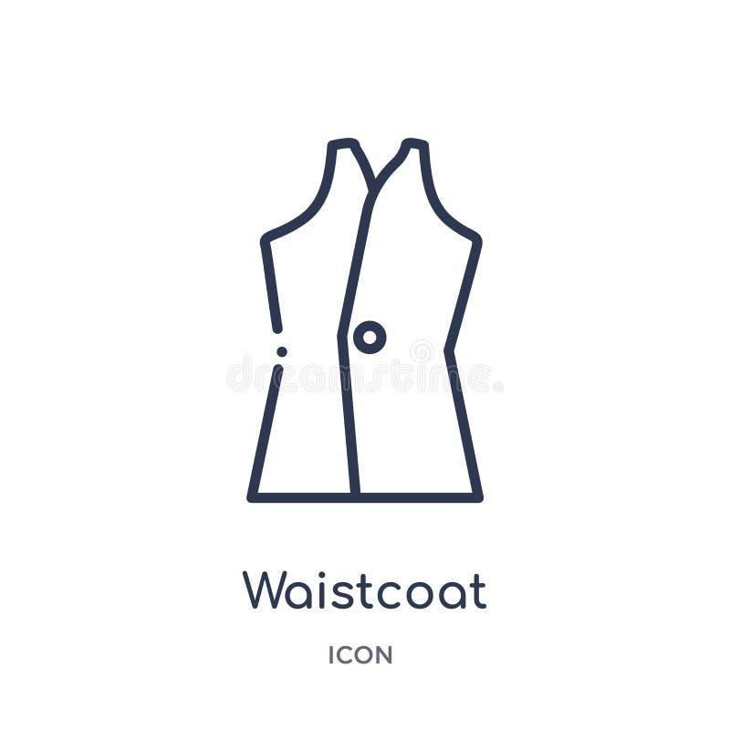 Linjär waistcoatsymbol från kläderöversiktssamling Tunn linje waistcoatvektor som isoleras på vit bakgrund moderiktig waistcoat vektor illustrationer