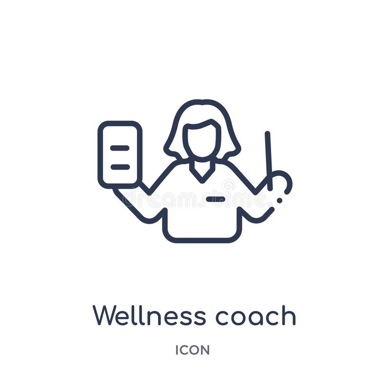 Linjär wellnesslagledaresymbol från modeöversiktssamling Tunn linje wellnesslagledaresymbol som isoleras på vit bakgrund wellness vektor illustrationer