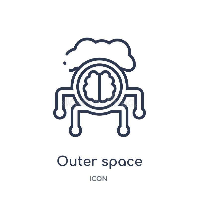 Linjär yttre rymdsymbol från konstgjord intellegence och den framtida teknologiöversiktssamlingen Tunn linje yttre rymdvektor royaltyfri illustrationer