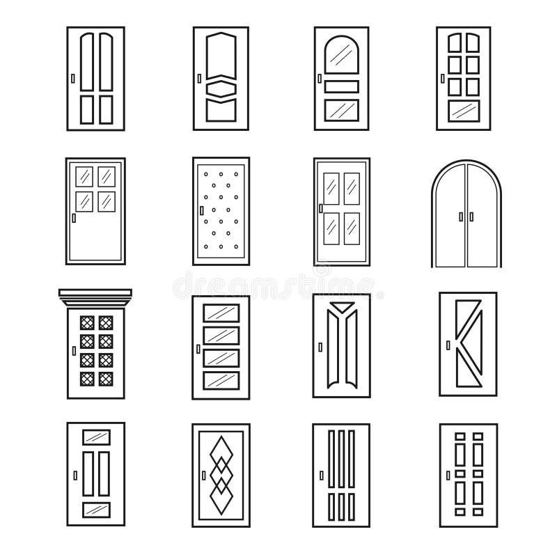 Linjära dörrsymboler Tunn översiktslinje dörrar av hiss- och ingångs-, tunnelbana- och salongvektordörrar stock illustrationer