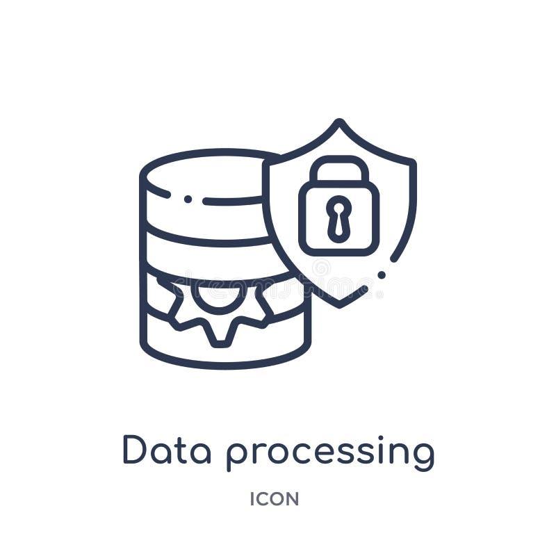 Linjära data - bearbeta symbolen från Gdpr översiktssamling Tunn linje data - bearbeta symbolen som isoleras på vit bakgrund data stock illustrationer