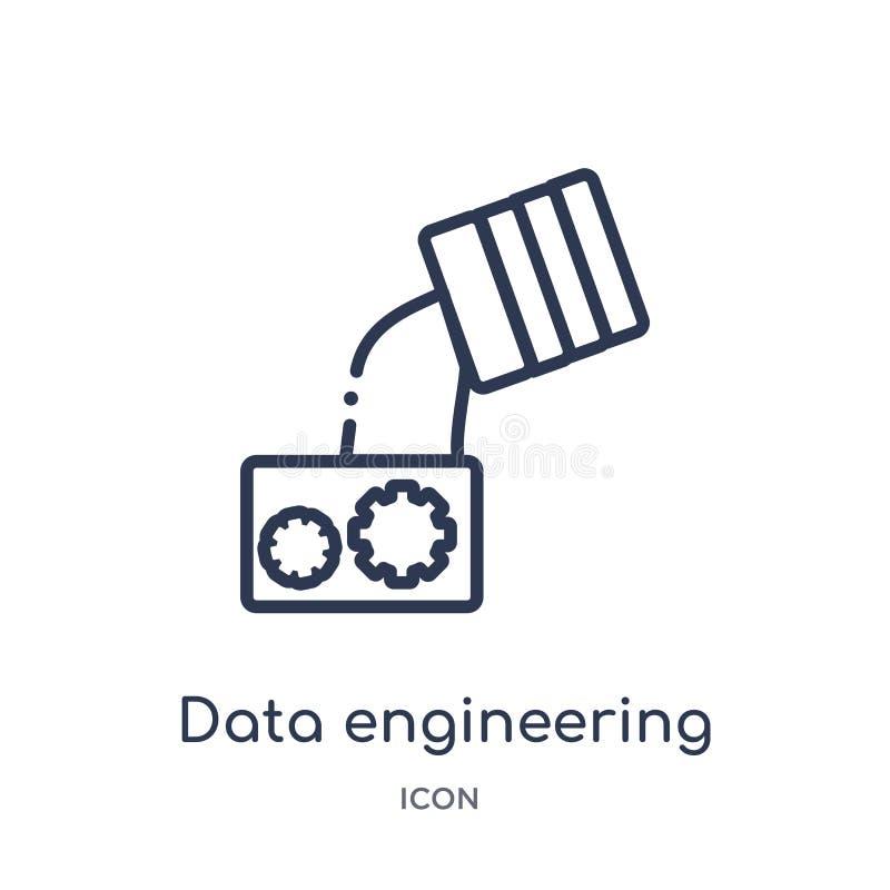 Linjära data som iscensätter symbolen från samling för allmän översikt Tunn linje datatekniksymbol som isoleras på vit bakgrund d vektor illustrationer
