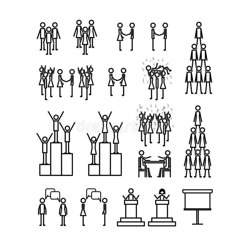 Linjära diagram för teamworkfolk royaltyfri illustrationer
