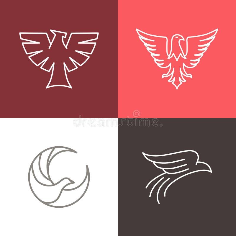 Linjära logoer för för vektorörn och falk royaltyfri illustrationer