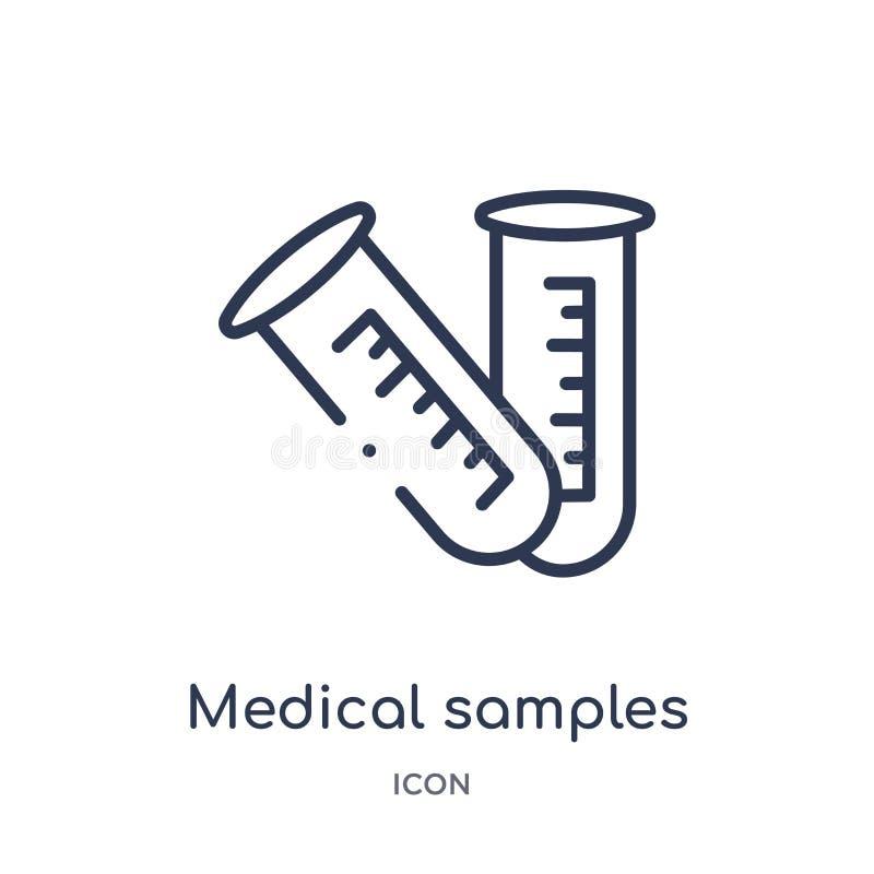 Linjära medicinska prövkopior i provrörparsymbol från medicinsk översiktssamling Tunn linje medicinska prövkopior i provrörpar vektor illustrationer
