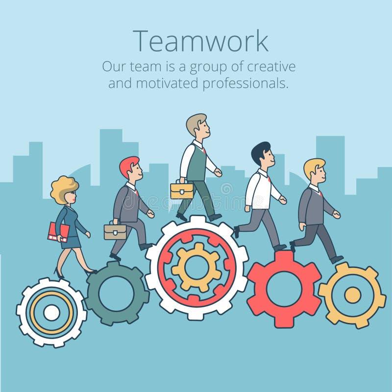 Linjära plana kugghjul för folk för affärslagarbete vektor illustrationer