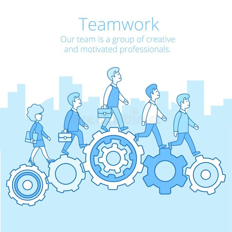 Linjära plana kugghjul för folk för affärslagarbete V vektor illustrationer