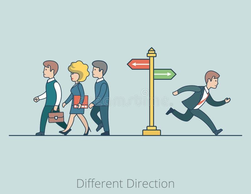 Linjära plana olika riktningar för affärsfolk vektor illustrationer