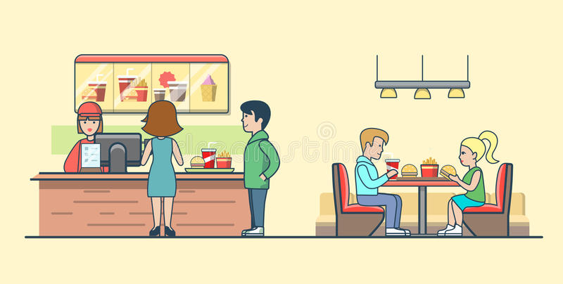 Linjära plana par som äter hamburgareklientbeställning vektor illustrationer