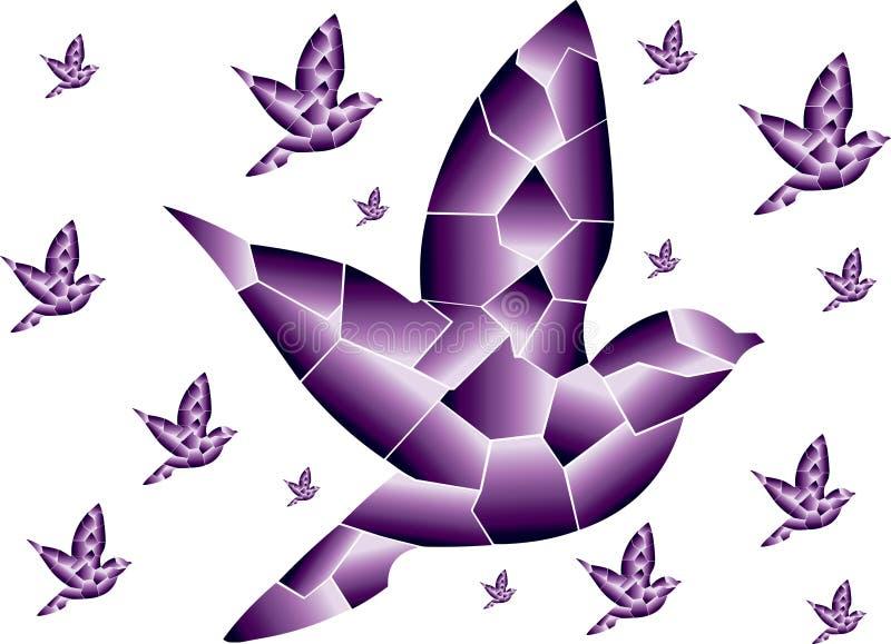 Linjära purpurfärgade fåglar flyga tillsammans royaltyfri illustrationer