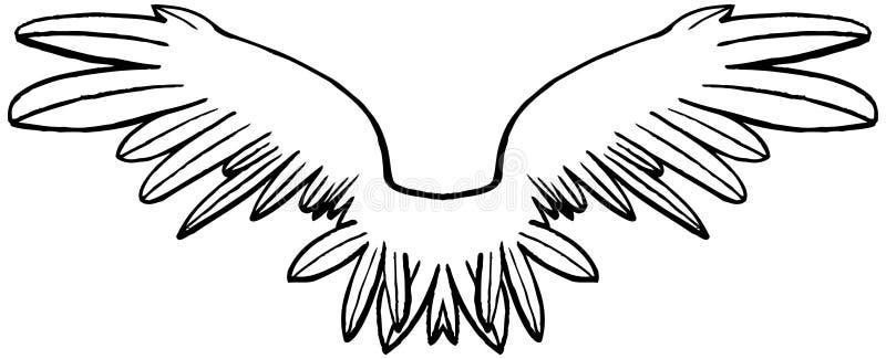 Linjära svartvita symmetriska vingar royaltyfri illustrationer