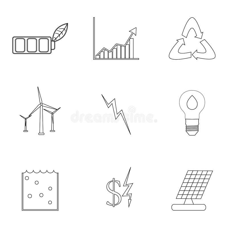 Linjära symboler för energi och för elektricitet vektor illustrationer