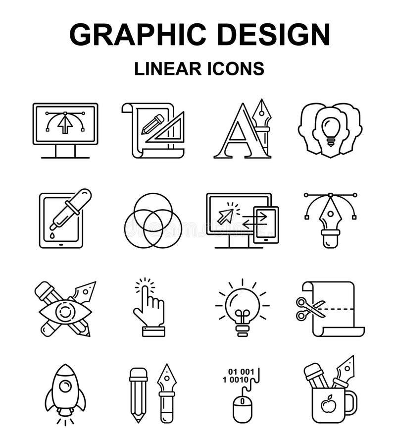 Linjära symboler för grafisk design royaltyfri illustrationer
