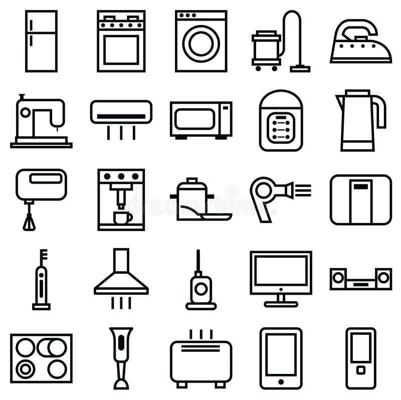 Linjära symboler för hem- anordningar vektor illustrationer