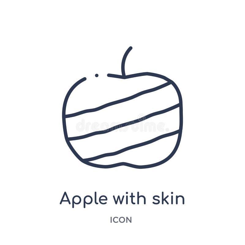 Linjärt äpple med hudsymbolen från bistro- och restaurangöversiktssamling Tunn linje äpple med hudvektorn som isoleras på vit stock illustrationer