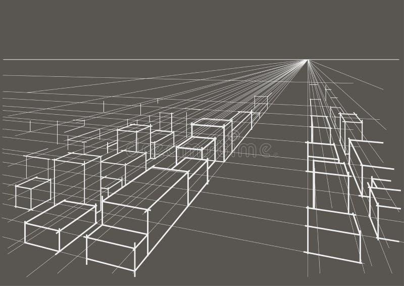 linjärt arkitektoniskt skissar stadslandskapperspektiv på grå bakgrund stock illustrationer