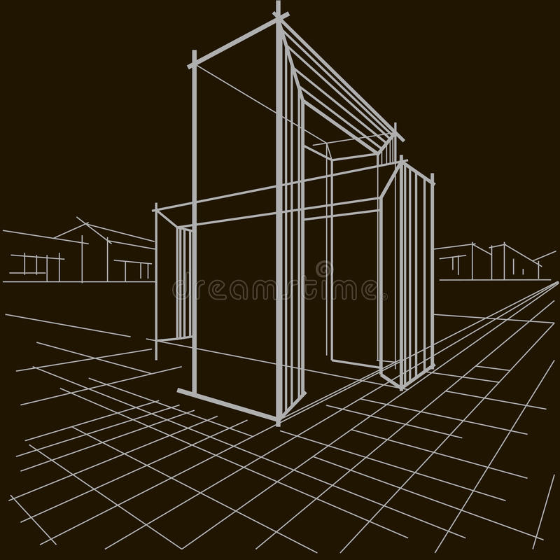 Linjärt arkitektoniskt skissar två skärande bågar på svart bakgrund arkivfoto