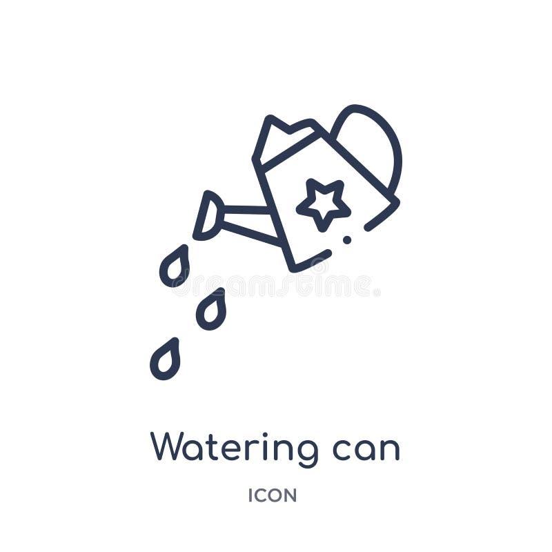 Linjärt bevattna kan med vatten tappar symbolen från samling för allmän översikt Den tunna linjen som bevattnar kan med den isole vektor illustrationer
