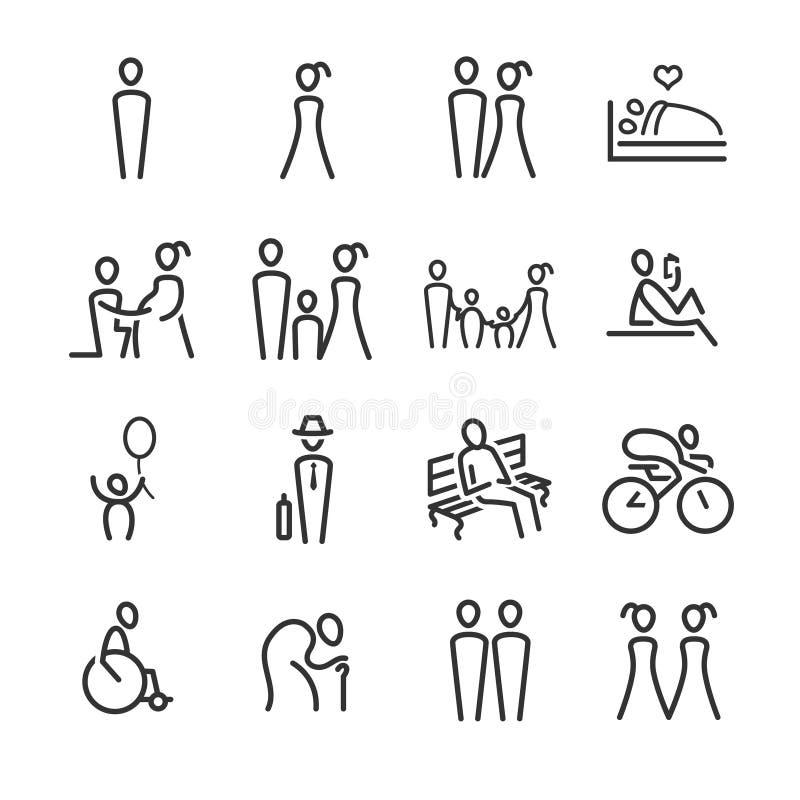 Linjärt folk vektor illustrationer