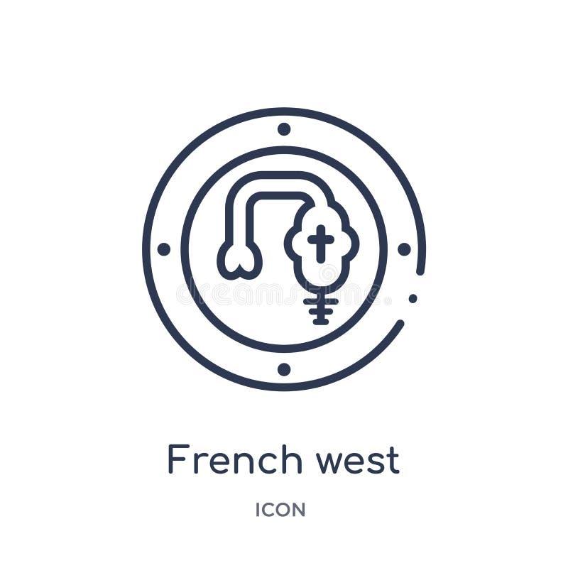 Linjärt franskt västra - afrikansk francsymbol från Afrika översiktssamling Tunn linje västra fransman - afrikansk francvektor so royaltyfri illustrationer