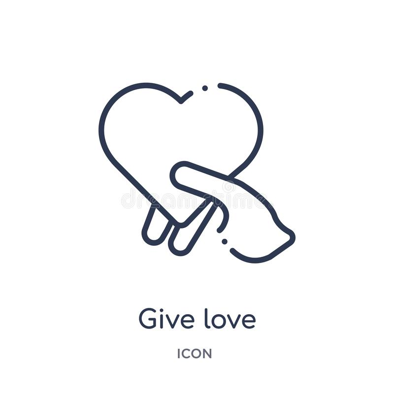Linjärt ge förälskelsesymbolen från hand- och gestöversiktssamling Den tunna linjen ger förälskelsesymbolen som isoleras på vit b vektor illustrationer