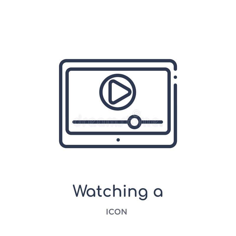 Linjärt hålla ögonen på en video på en minnestavlasymbol från bioöversiktssamling Tunn linje som håller ögonen på en video på en  vektor illustrationer