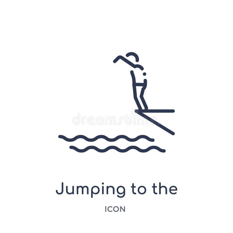 Linjärt hoppa till vattensymbolen från aktivitet och hobbyöversiktssamling Tunn linje som hoppar till vattenvektorn som isoleras  stock illustrationer
