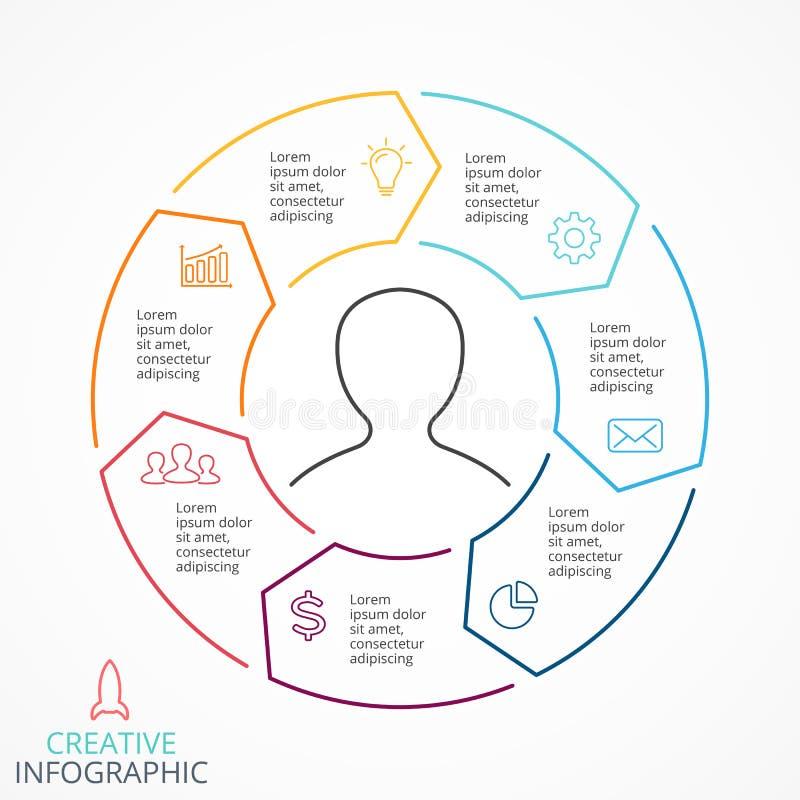 Linjärt infographic för vektorcirkelpilar, diagram, graf, presentation, diagram Konjunkturbegrepp med 7 alternativ royaltyfri illustrationer