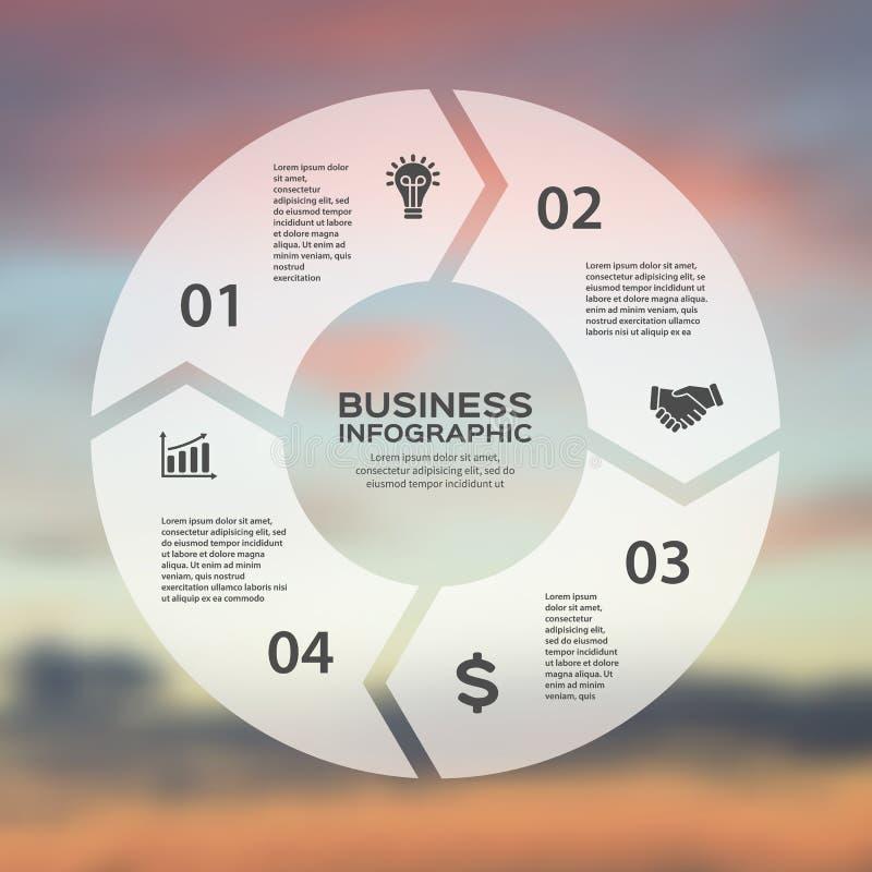 Linjärt infographic för vektorcirkelpilar Mall för cirkuleringsdiagrammet, graf, presentation, runt diagram äganderätt för home t royaltyfri illustrationer